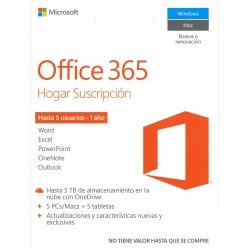 MICROSOFT OFFICE 365 HOGAR SUSCRIPCIÓN 5 USUARIOS 1 AÑO CÓDIGO DIGITAL CODE
