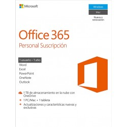 MICROSOFT OFFICE 365 PERSONAL SUSCRIPCIÓN 1 AÑO 1 PC MAC TABLET DIGITAL CODE