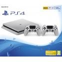 PS4 SLIM 500 Gb CONSOLA PLAYSTATION 4 PLATEADA SILVER + 2 DUALSHOCK V2 PLATEADOS