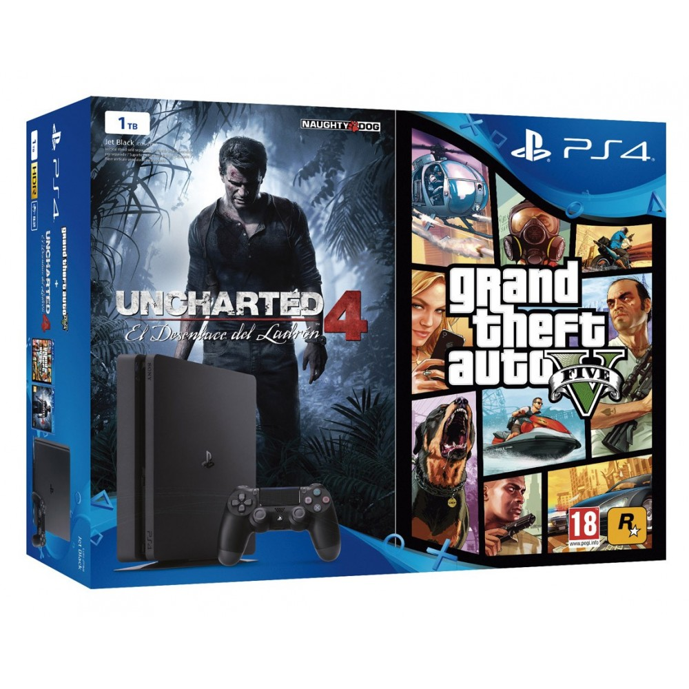 PS4 SLIM 1 TB CONSOLA + 2 JUEGOS GRAND THEFT AUTO V Y UNCHARTED 4 PLAYSTATION 4