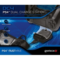 CARGADOR DOBLE DE MANDOS DE PLAYSTATION 4 GIOTECK DC4 DUAL CHARGE STATION