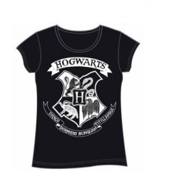 CAMISETA CHICA HARRY POTTER HOGWARTS NEGRA M CAMISETAS CINE HARRY POTTER