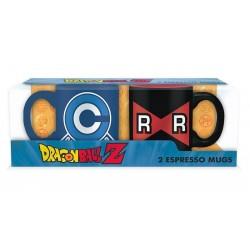 SET MINI TAZAS DRAGON BALL CAPSULE CORP VS RED RIBBON TAZAS CÓMICS Y MANGA