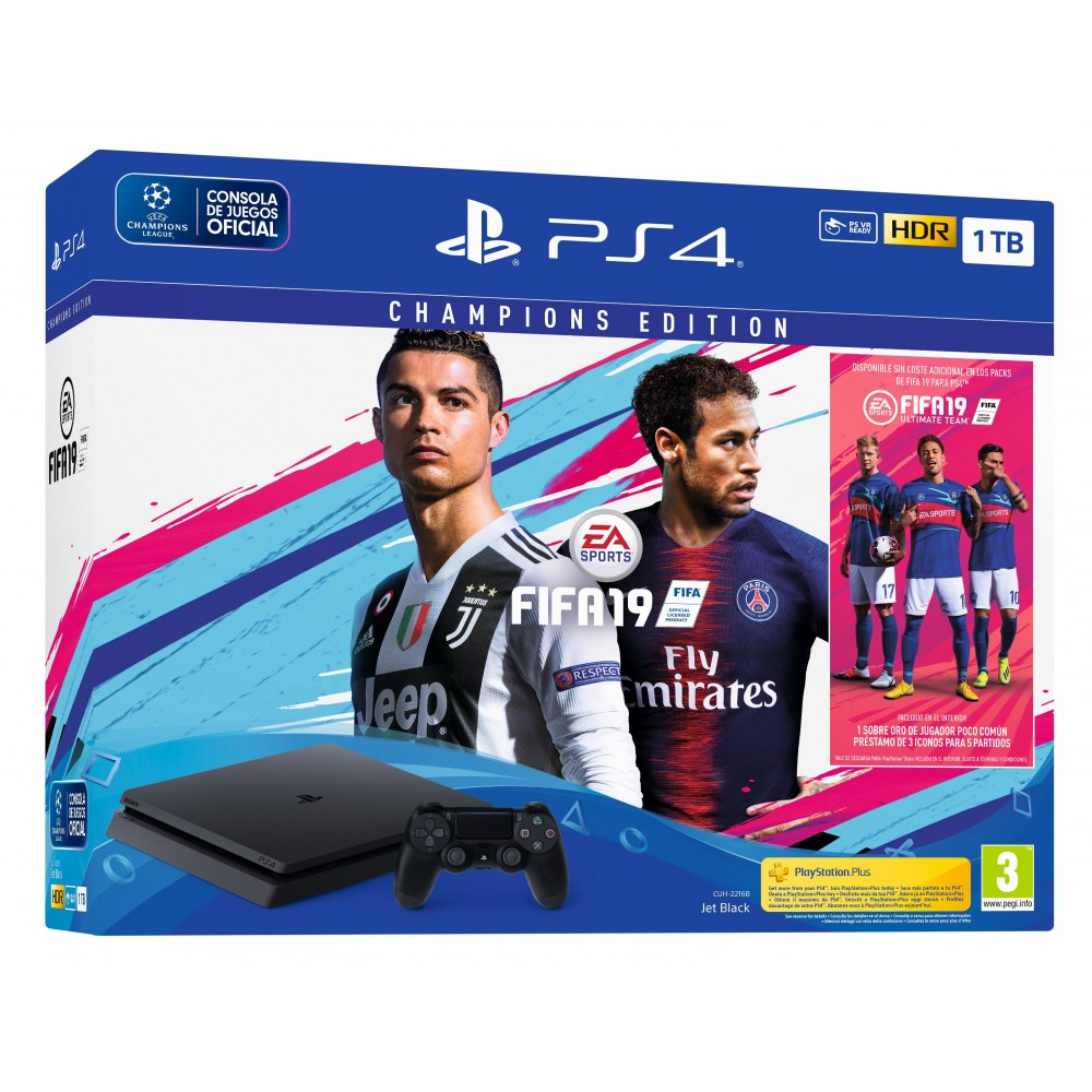 PS4 1TB CHAMPIONS EDITION + JUEGO FIFA 19 DELUXE + PSPLUS 14 DÍAS PLAYSTATION 4