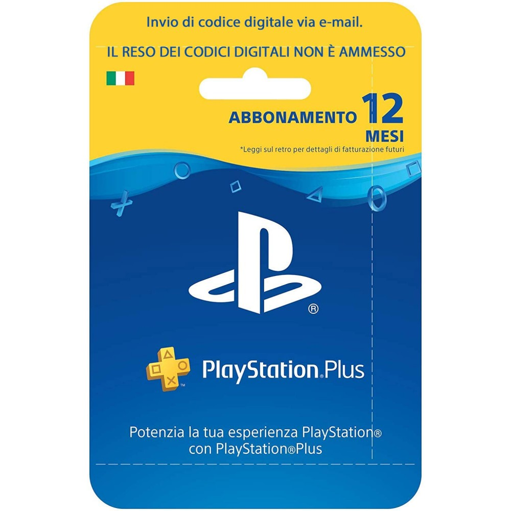 PLAYSTATION PLUS ABBONAMENTO 12 MESI CODICE DIGITALE VIA EMAIL PSN ACC. ITALIANO