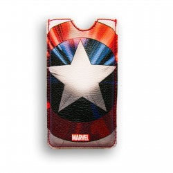 FUNDA PIEL IPHONE 4 DELUXE LEATHER SLEEVE MARVEL CAPITAN AMERICA ESCUDO SHIELD