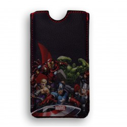 FUNDA PIEL IPHONE 4 DELUXE LEATHER SLEEVE MARVEL AVENGERS VENGADORES HEROES