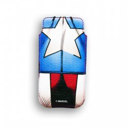 FUNDA RIGIDA PIEL IPHONE 5 DELUXE LEATHER CASE MARVEL CAPITAN AMERICA ESCUDO