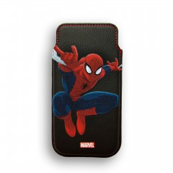 FUNDA RIGIDA PIEL IPHONE 5 DELUXE LEATHER CASE MARVEL SPIDERMAN HEROES