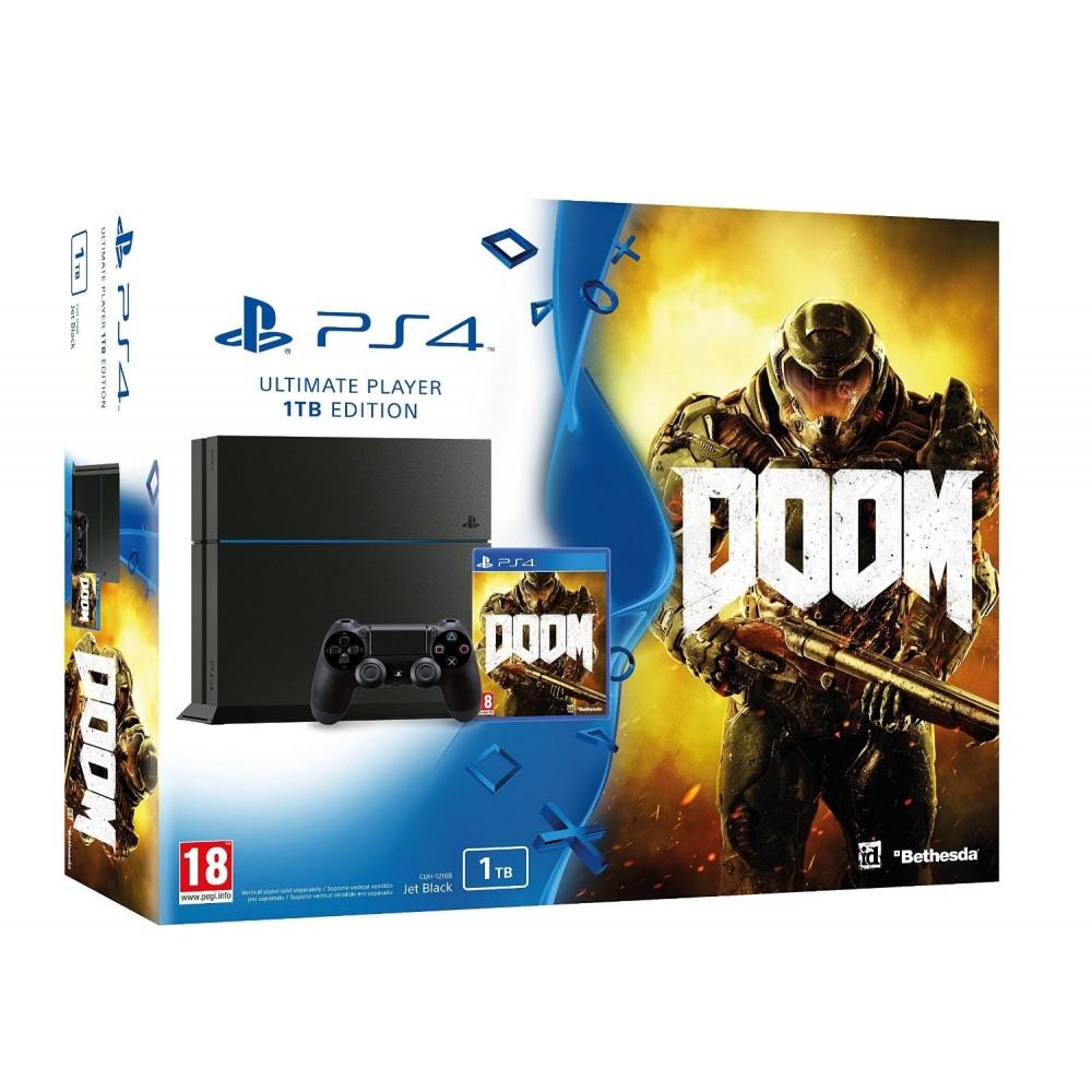 PS4 1 TB + DOOM PLAYSTATION 4 CONSOLA + JUEGO FISICO PLAYSTATION4